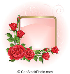 Background with roses - Pink background with red roses and...