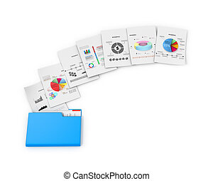 Office documents and folders on a white background. 3D...