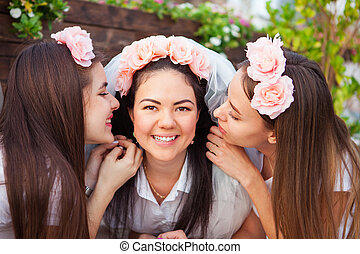 Happy girls celebrating a bachelorette party of bride -...