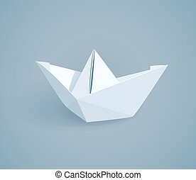 Paper origami ship. Handmade toy