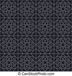 Vector Geometric Pattern - Black seamless texture with...