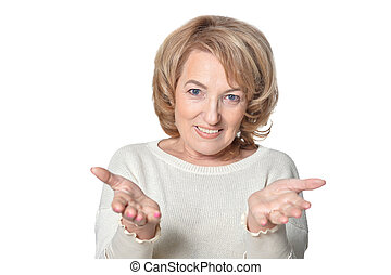 Senior woman with outstretched hands isolate on white