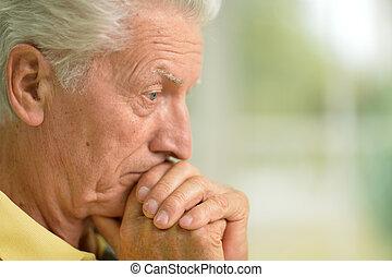 pensive senior man - Portrait of a pensive senior man...