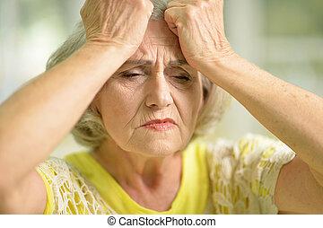 stressed senior woman - Portrait of a of stressed senior...