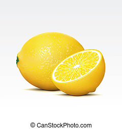 Lemons - Two lemons on a white background