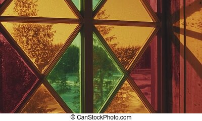 Stained Glass Window - Close up View of Beautiful Stained...