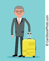Elderly businessman holding travel insurance tag.