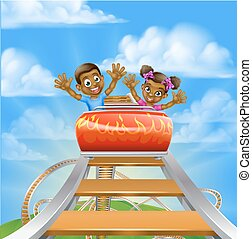 Roller Coaster Cartoon - Cartoon children riding on a roller...