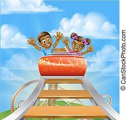 Roller Coaster Cartoon - Cartoon children riding on a roller...