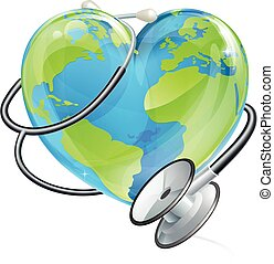 Heart Earth World Globe Stethoscope Health Concept -...