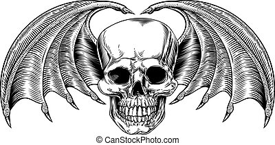 Winged Skull Grim Reaper - A winged skull drawing with bat...