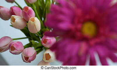 Close-up of tulips and gerbera flowers - Close-up of tulips...