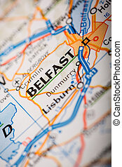 Belfast City on a Road Map - Map Photography: Belfast City...