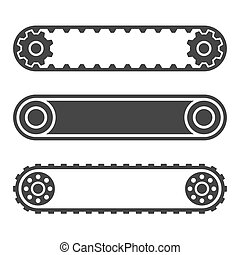 Conveyor Belt Line Set on White Background. Vector