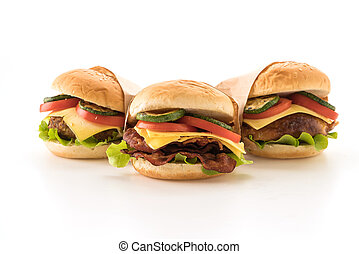 Fast food and junk food concept on white background