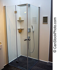 Modern shower cabinet with glass doors