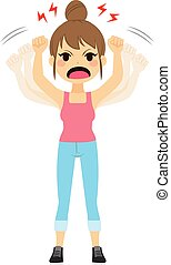 Angry Woman Shaking Fists - Very angry woman shaking fists...