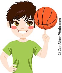 Basketball spinning Boy - Young boy spinning basketball ball...