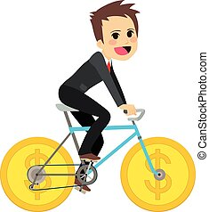 Businessman Coin Bicycle