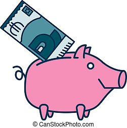 Happy Piggy bank or money box symbol. Thin line linear...