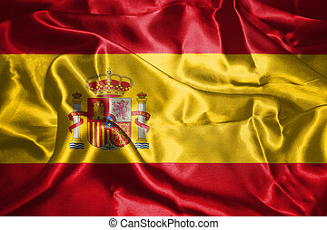 Spanish National Flag With Coat Of Arms Waving In The Wind...