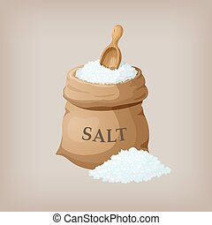Sea salt in jute sack. Vector illustration