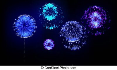 4K firework background. colorful fireckrackers at holiday night. version 12.