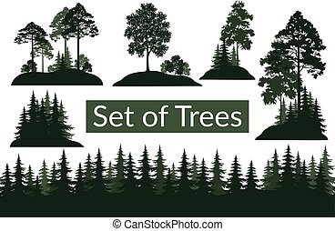Landscapes, Trees Silhouettes - Set Isolated on White...