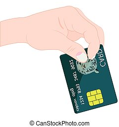Bank card in hand - Hand of the person with bank card on...