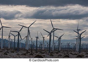 Wind turbines in Palm Desert area - Many wind machines in...