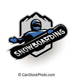 Jumping snowboarder, sport logo.