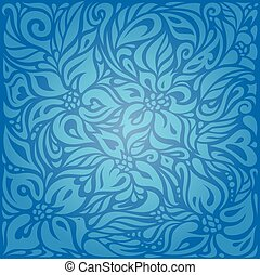 Blue wallpaper background design with decorative flowers