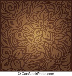 Brown vintage floral background wallpaper design