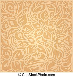 Floral Ocher ecru vector pattern wallpaper design - Floral...