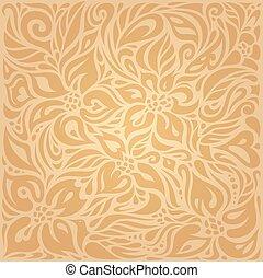Floral Ocher ecru vector pattern wallpaper design - Floral...