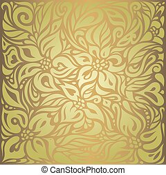 Green & brown floral vintage wallpaper design