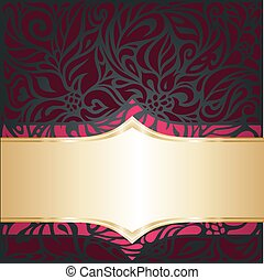 Red and gold  Royal luxury vintage invitation template