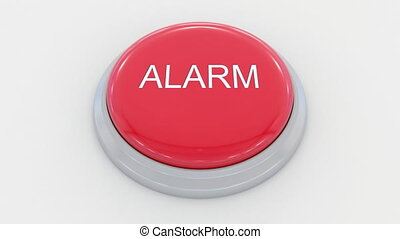 Pushing big red button with alarm inscription.