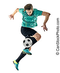 soccer player man jungling isolated white background