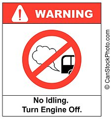 No idling or idle reduction sign on white background. vector...
