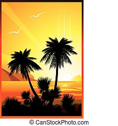 Ocean beach. - Silhouettes of palms on a ocean background....