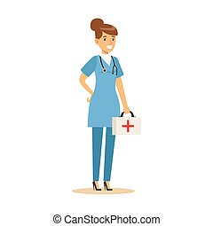 Female Emergency Service Doctor Wearing Medical Scrubs...