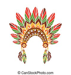 Chief War Bonnet With Feathers , Native Indian Culture...