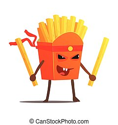 Pack Of Fries With Two Sticks Karate Fighter, Fast Food Bad...