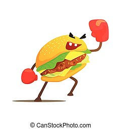 Burger Sandwich Box Fighter In Gloves, Fast Food Bad Guy...