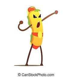 Hot Dog In Champion Belt Street Fighter, Fast Food Bad Guy Cartoon Character Fighting Illustration