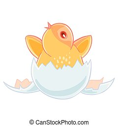 Cute small yellow chicken hatched from an egg, and sits in the shell.
