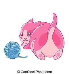 Cute pink kitten plays with a ball of wool.