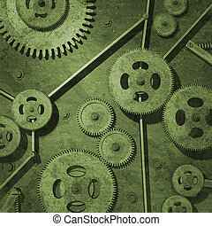Rusty Gears - Various rusty metal gears on a green...