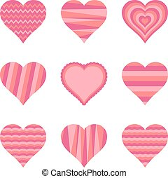 Collection of hearts, vector illustration